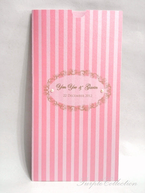 Pocket Wedding Invitation Cards, pink stripes pocket, pink card, pink, invitation card, wedding, wedding invitation card, pearl pink card, 2 white flatback pearls, pocket invitation cards, pocket card, wedding cards