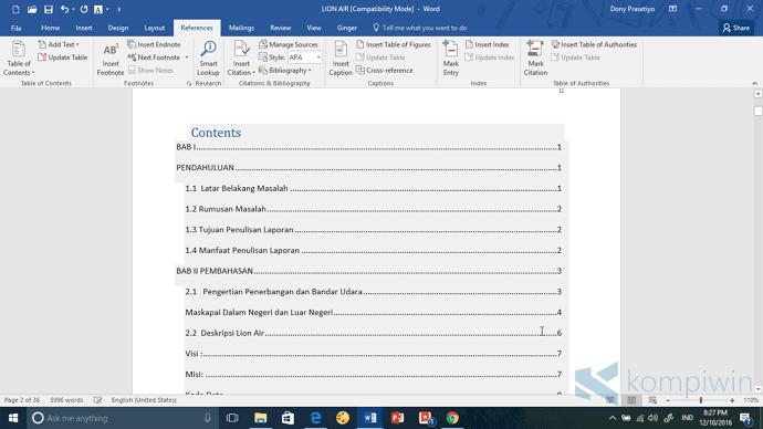 Cara Membuat Daftar Isi Otomatis dan Rapi di Word 2