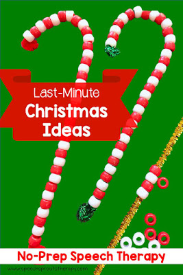 Easy Candy Cane Craft using a pipe cleaner and pony beads: Perfect no-prep Christmas activity in speech therapy #speechsprouts #speechtherapy #Christmas #speechandlanguage