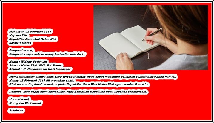 Kumpulan Contoh Surat Izin Tidak Masuk Sekolah Karena Sakit