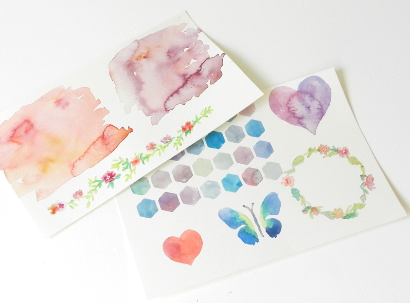 watercolor butterfly, hearts, flowers