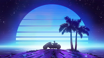 Moon, Night, Minimalist, Scenery, Synthwave, 4K, #6.2182