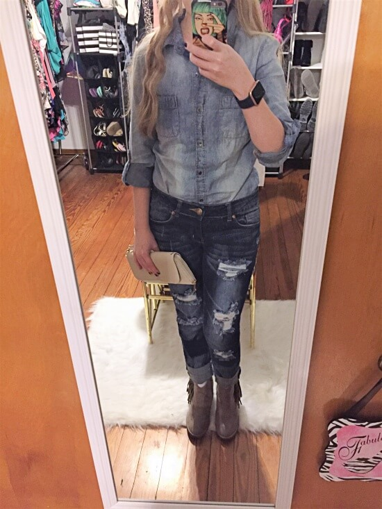denim shirt outfit of the day