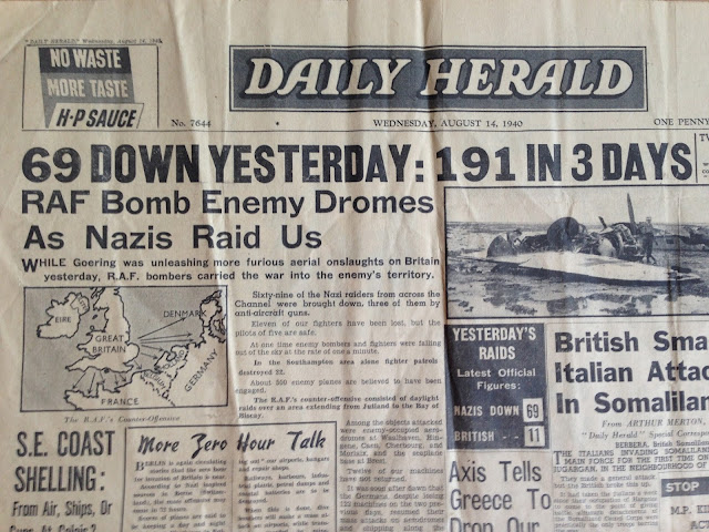 14 August 1940 worldwartwo.filminspector.com Daily Herald headlines