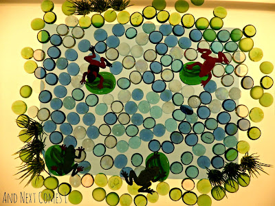Create a frog pond small world on the light table to encourage imaginative play from And Next Comes L