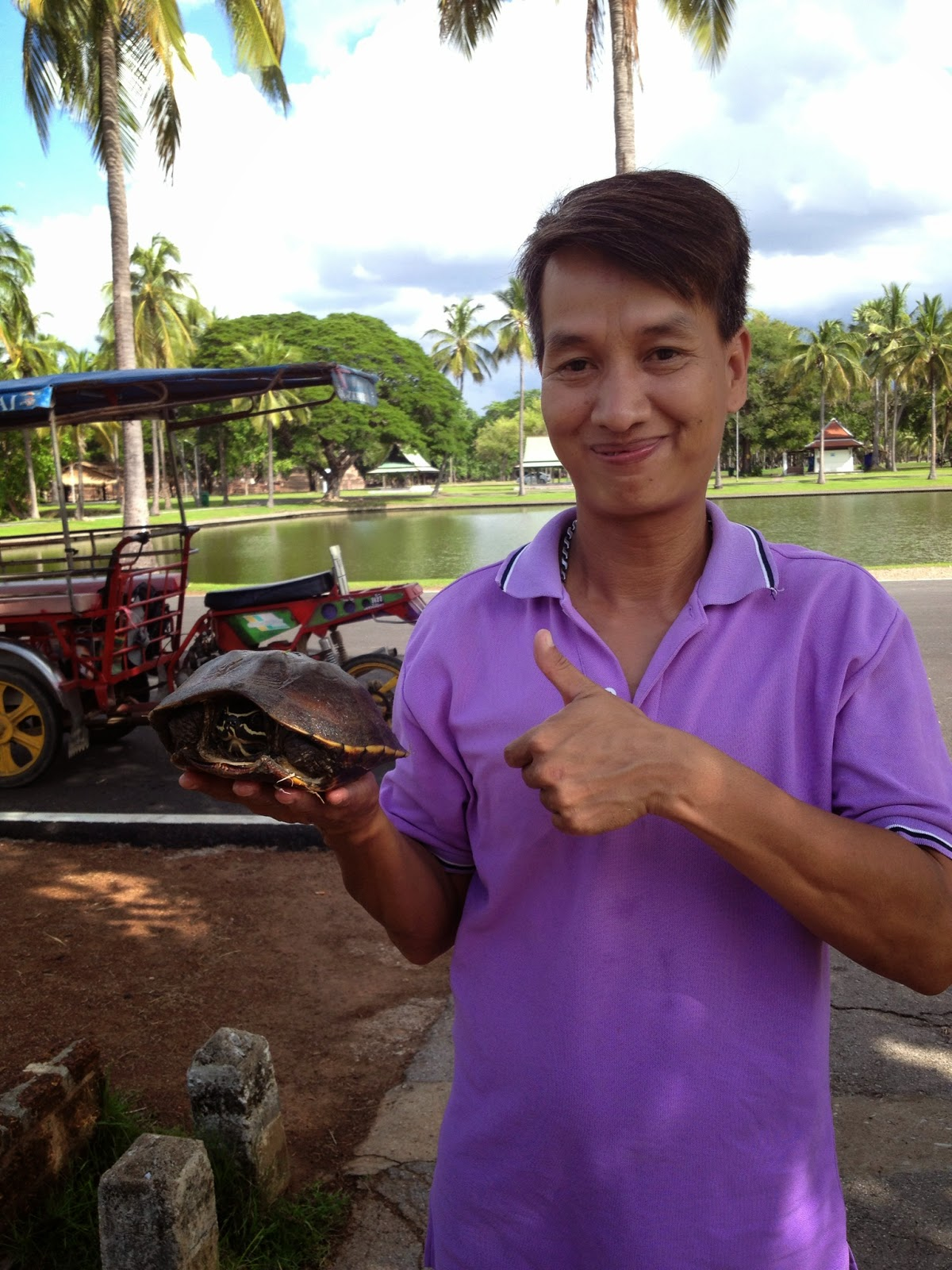 Old Sukhothai - Prajin caught a turtle for each of us to release for good luck!