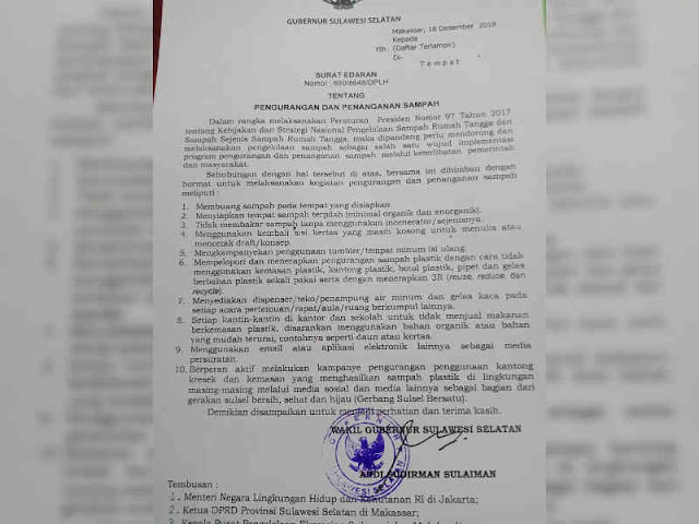 Nurdin Abdullah Keluarkan Surat Edaran Pengelolaan Sampah di Sulsel