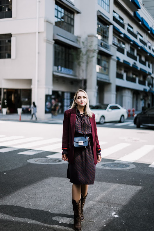How to layer printed dress for fall