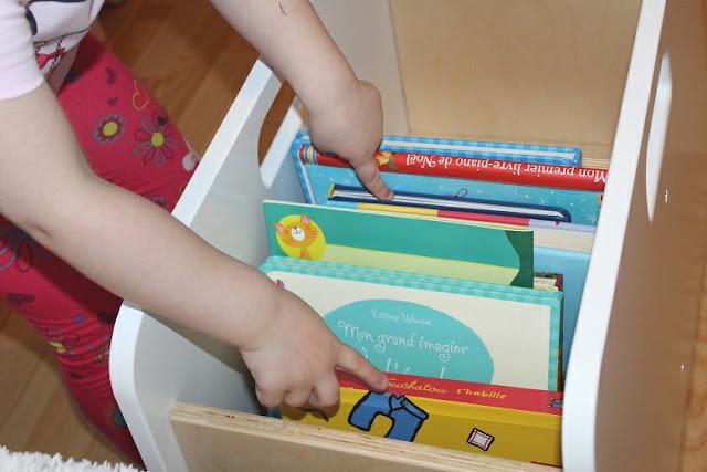 bac en bois pour ranger les livres