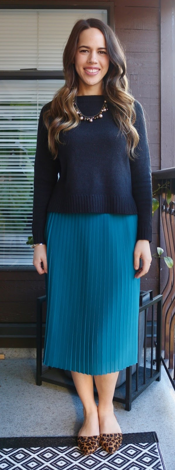 Jules in Flats - Teal Pleated Midi Skirt and Cropped Sweater