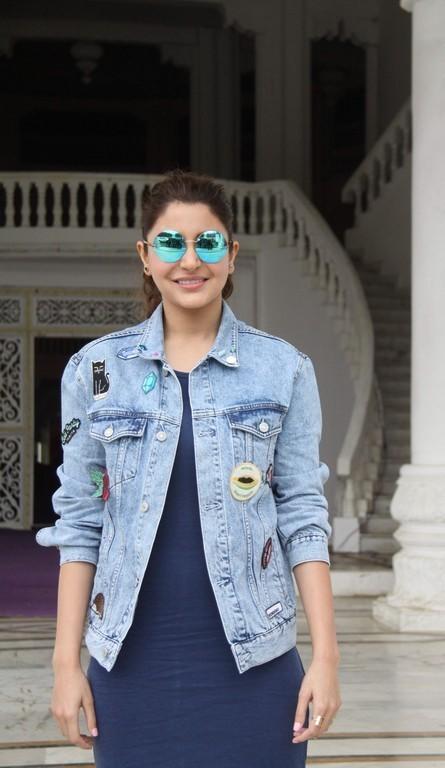 Anushka Sharma Leg Show Stills In Blue Dress
