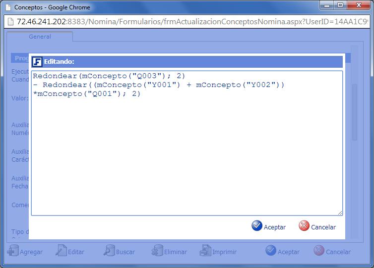 Programación LIF, campo Valor de Conceptos de Nómina - eFactory Nómina Cloud