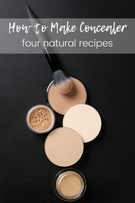 How to make concealer at home. This has four easy homemade recipes for liquid and under eyes concealer.  Make homemade makeup for full coverage that's not cakey.  Look natural with a DIY homemade natural recipe.  Make a recipe under eyes and spot concealer for acne.  #diy #concealer #diymakeup #recipe