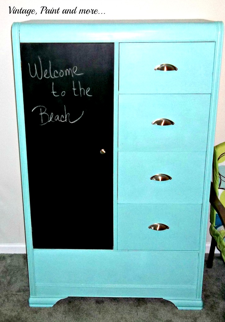 Vintage, Paint and more... a thrifted armoir painted in a fun and funky color for a teen bedroom