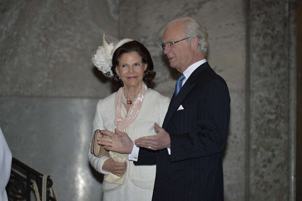 King Carl XVI Gustaf, Queen Silvia and Crown Princess Victoria, Prince Daniel, Princess Estelle and Princess Madeleine and Chris O'Neill, Princess Leonore and Prince Carl Philip and his fiancee Sofia Hellqvist attends a service in the Royal Chapel