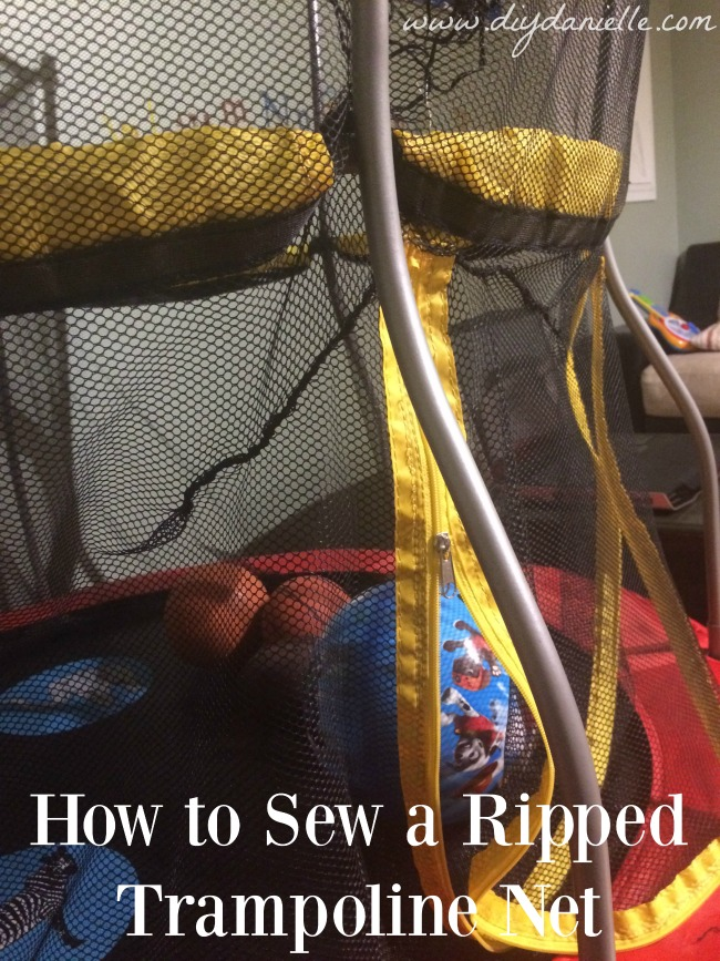 How to fix a ripped trampoline enclosure net.