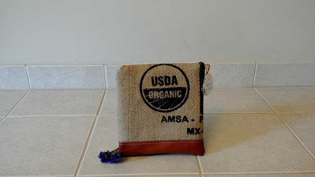USDA Organic burlap zipper pouch by Lina and Vi Plymouth MI