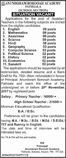 Assistant Teachers Jobs in Assam Anundoram Borooah Academy Recruitment Notification 2017