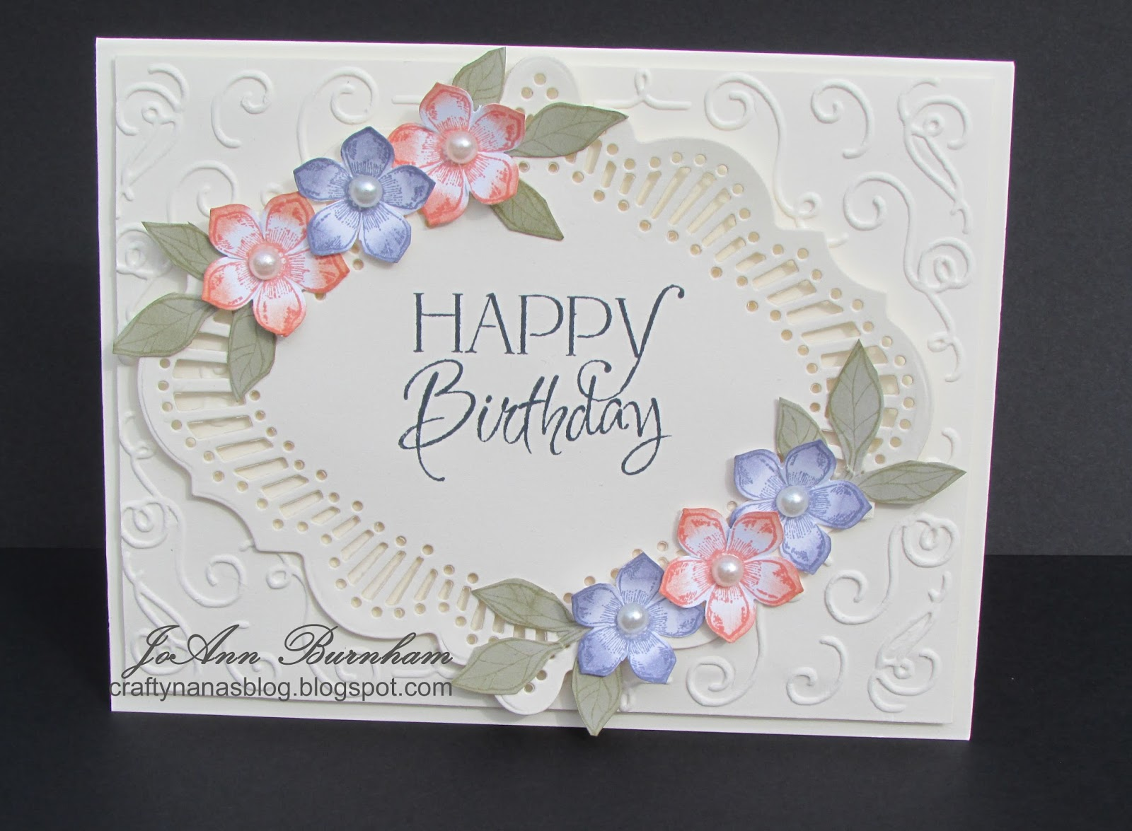 happy birthday i made my card for a sweet lady at church using jugs challenge 339 use lavender peach and ivory