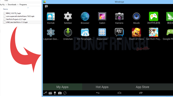 Instal aplikasi android di laptop emulator windroye