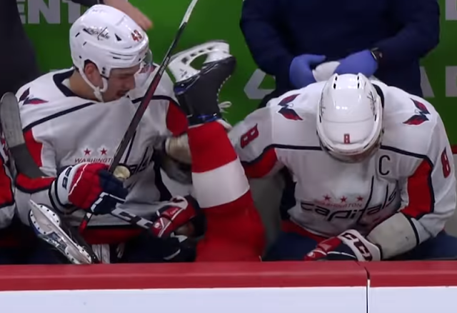 Red Wings defenseman Mike Green knocked head over heels into Capitals bench 11/30/2019