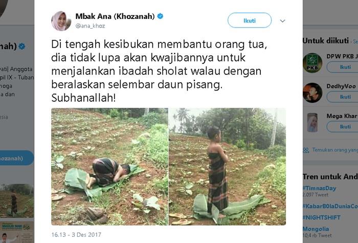 Bocah Shalat Hanya di Selembar Daun Pisang Usai Bantu Orang Tua - Twitter ana_khoz