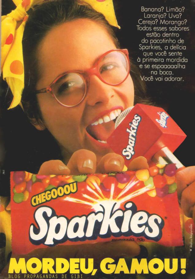 Propaganda de lançamento do Sparkies na metade dos anos 80