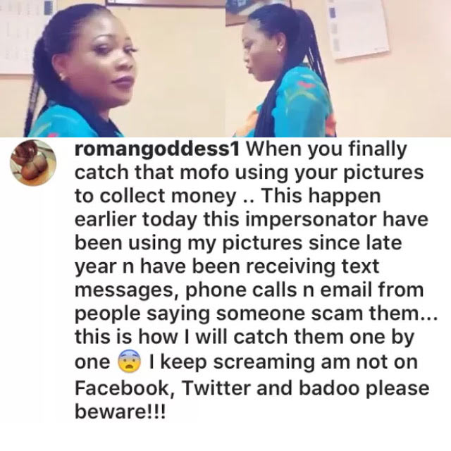 Cossy Ojiakor competitor Roman Goddess arrests another lady using her pics to defraud people