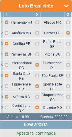 BETMOTION - BRASILEIRÃO 19ª RODADA - APOSTA 01