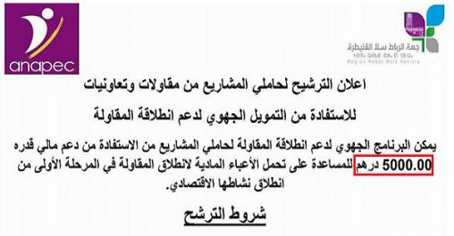 دعوة من الأنابيك + جهة الرباط سلا القنيطرة للشباب للاستفادة من تمويل مشاريعهم (5000 درهم)