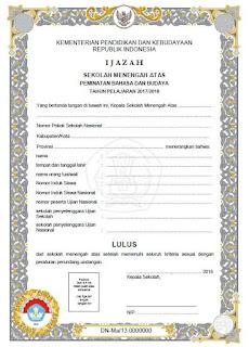 Blangko Ijazah SMA 2018 Kurikulum 2013, Jurusan Bahasa
