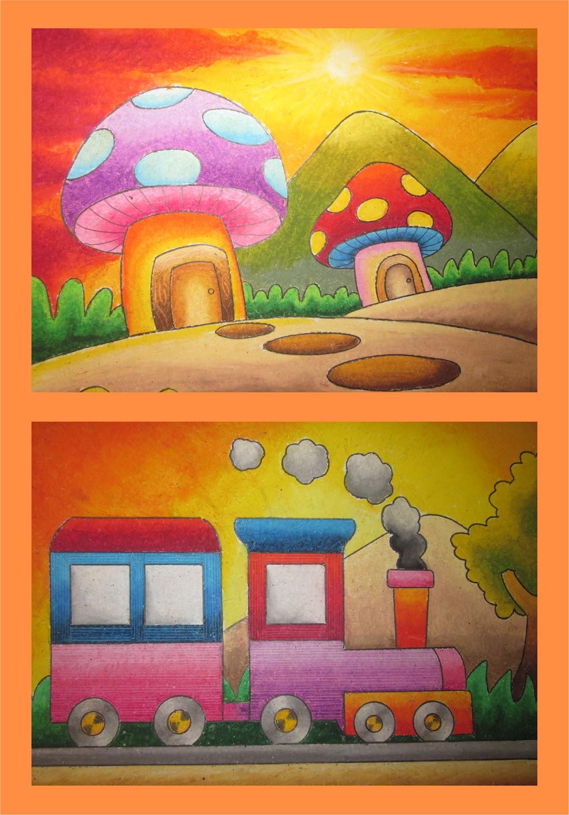 Menggambar Dan Mewarnai Rumah Jamur Gambar Mewarnai Gratis
