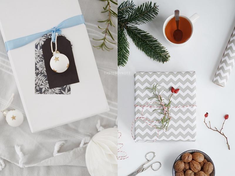 Weihnachtsgeschenke kreativ verpacken - DIY-Ideen. Tapetenmuster als Geschenkpapier, Namensanhänger basteln und Hagebuttenzweige als Deko. Tasteboykott Blog.