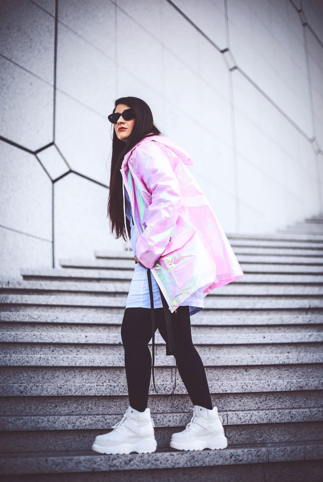 parka rose holographique blog mode