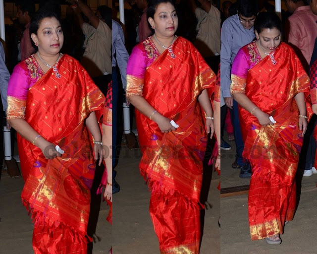 Balakrishna Wife Orange Silk Saree