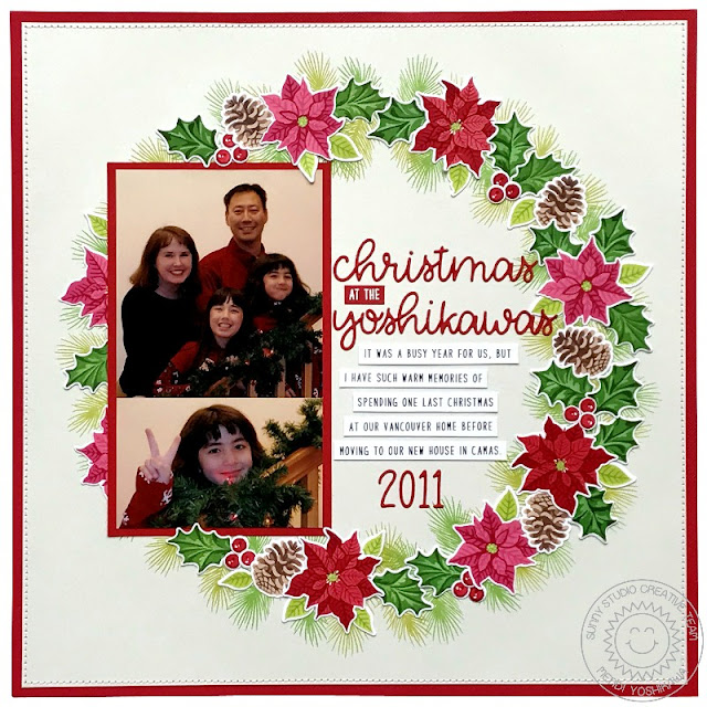 Sunny Studio Stamps: Christmas Trimmings & Petite Poinsettias Holiday Wreath Scrapbook Layout by Mendi Yoshikawa