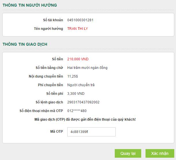 Hướng dẫn chuyển tiền trong Vietcombank Internet Banking