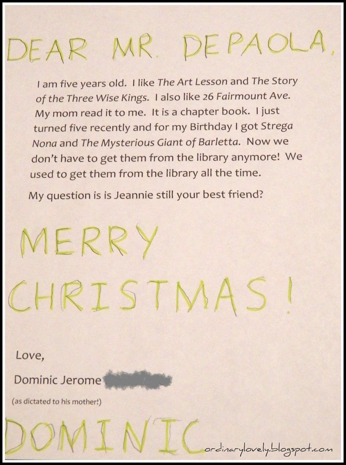 Ordinary Lovely Writing To Tomie Depaola
