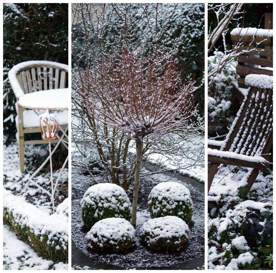 Blog + Fotografie by it's me! - Winter für einen Tag - Collage aus dem verschneiten Garten