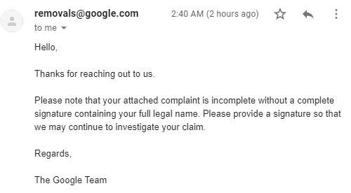 Pengalaman Pertama Laporan DMCA Ditolak