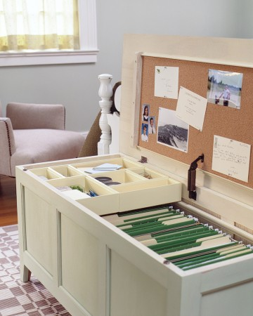 Turn a chest into office storage