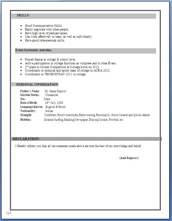 Sample Cv For Freshers Sample Cv Format Ca Inter Resume Format