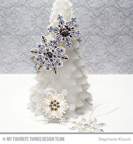 Handmade ornaments from Stephanie Klauck featuring Simply Snowflakes stamp set and Die-namics, and Stylish Snowflakes Die-namics #mftstamps