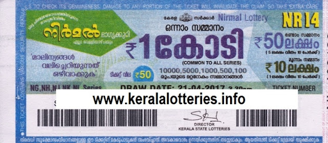 Official Kerala lottery result of Nirmal (NR-14) on 21.04.2017