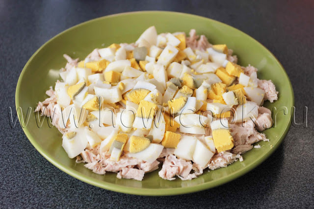 рецепт салата с курицей и сыром с пошаговыми фото