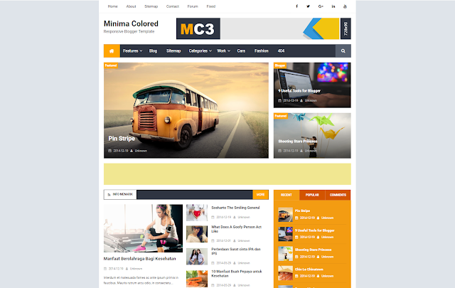 Minima Colored Mag Responsive Blogger Template