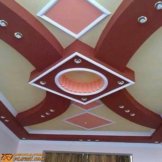 Faux plafond pour salon decoration platre plafond - Decoration platre couloir ...