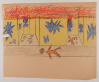 A child's drawing showing a limp person or mannequin in front of a destroyed shopfront.