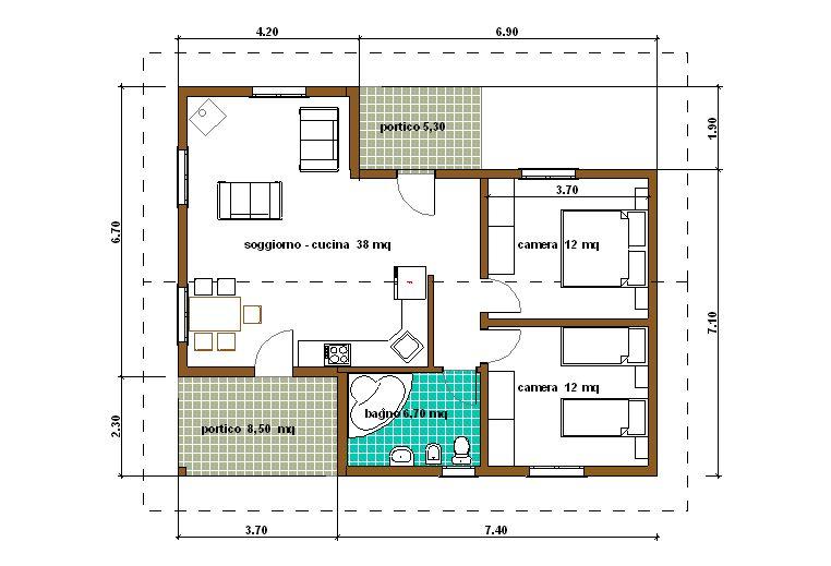 Progetti di case in legno casa 78 mq portici 14 mq for Piante case moderne
