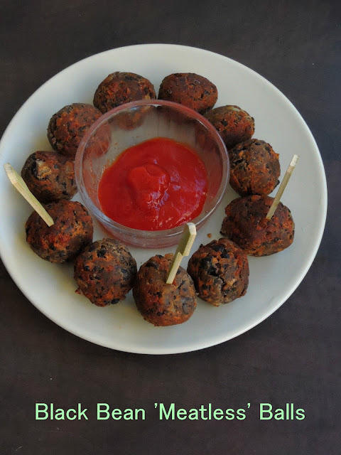 Meatless Black bean balls, Vegetarian meatballs